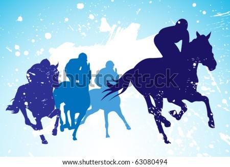 vector race horses and jockeys
