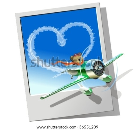 Vector racing airplane sending love message. More vector airplanes see in my portfolio