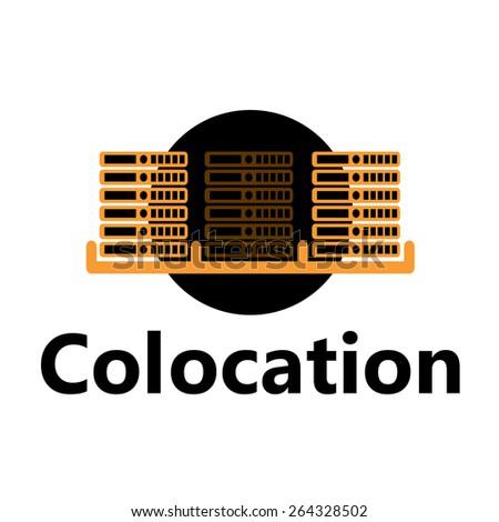 Vector rackmount technologic icon - colocation yellow Foto stock ©
