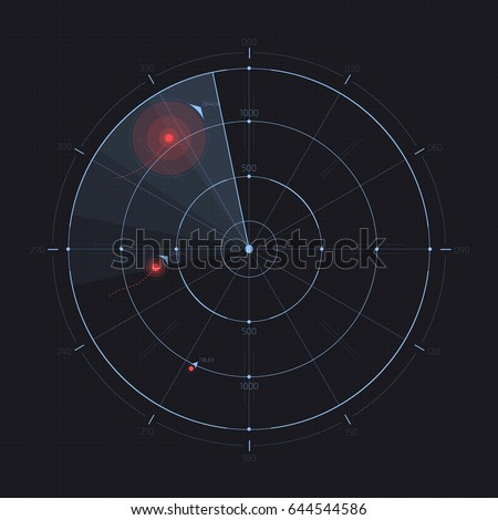 Vector radar screen. Futuristic HUD radar display. Sci-fi design element isolated on background. Military air scan. Submarine navy search. System blip. Vector illustration of navigation interface. Сток-фото ©