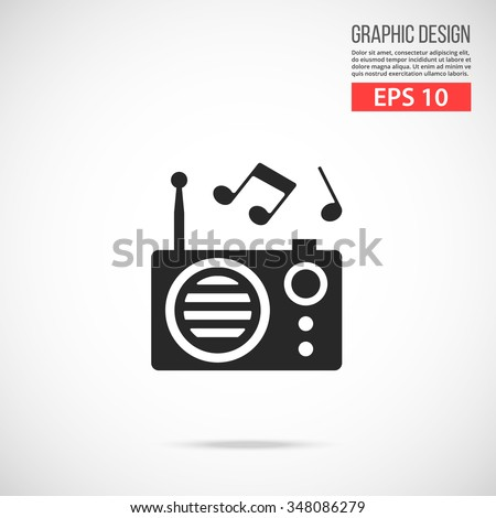Vector radio icon. Black icon pictogram. Modern flat design vector illustration, quality concept for web banners, web and mobile applications, infographics. Vector icon isolated on gradient background