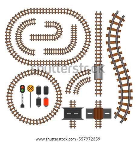 Vector railroad and railway tracks construction elements. Wavy trackway structure for traffic train illustration