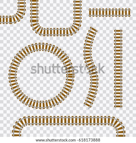 Shutterstock Vector railroad and railway tracks construction elements. Wavy trackway structure for traffic train illustration