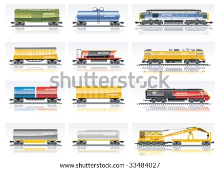 Vector railroad transportation icon set. Part 1 - stock vector