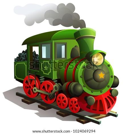 vector railway locomotive. Illustration of train isolated on white background.