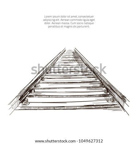 Vector railway pencil sketch. Train railway drawing