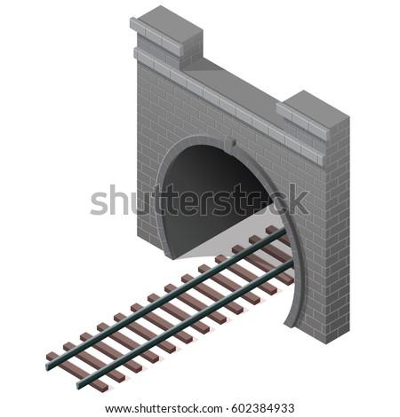 vector railway tunnel in