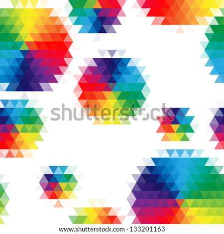 Vector rainbow abstract seamless pattern with mosaic circles.