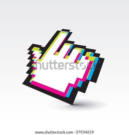 vector rainbow color hand mouse symbol with white background