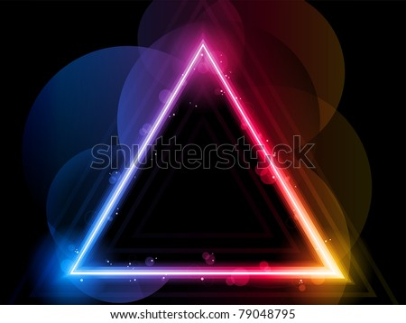 Vector - Rainbow Triangle Border with Sparkles and Swirls - stock vector