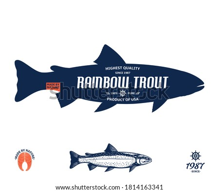 Vector rainbow trout label isolated on a white background. Trout raw steak and fish illustration Stock photo ©