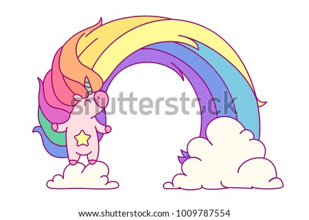 vector rainbow unicorn sticker