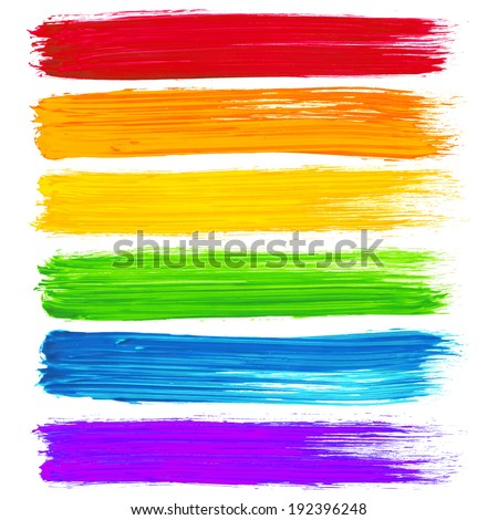 Vector rainbow watercolor brush strokes #192396248