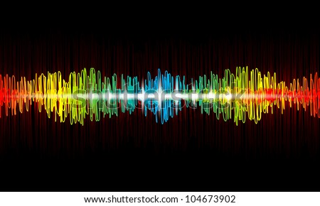 Vector Rainbow waveform equalizer with ligths effects - stock vector