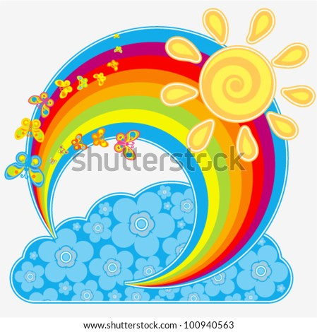 Vector rainbow with butterflies (as well as sun and cloud with floral decoration)