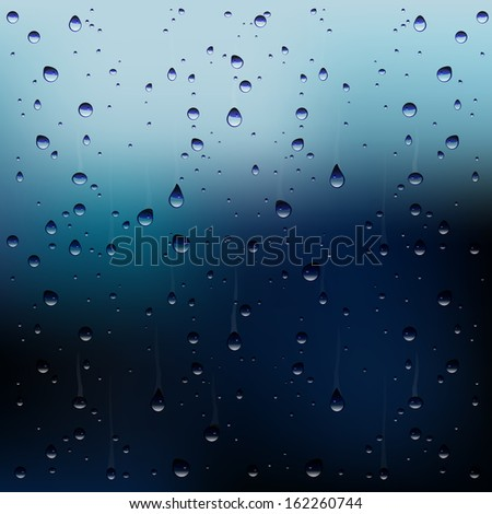 vector raindrops on window