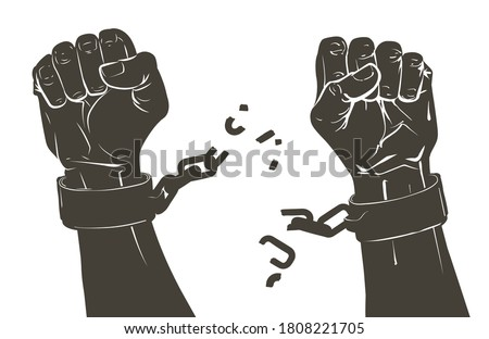 Vector Raising hands. Breaking steel shackles, chain. Get slave free. Concept of rescue, liberation, victory, fight, rebellion, protest. Sketch illustration Foto stock ©