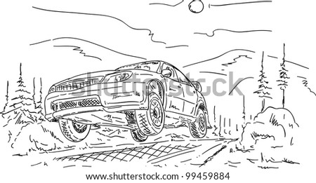 vector - rally car jumping , isolated on background