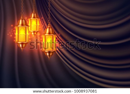 Vector ramadan kareem celebration lamp lantern silk drape curtain realistic 3d illustration. Arabic islam culture festival decoration religious fanoos glowing background Traditional muslim poster card