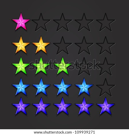 Vector rating stars 5 colors set