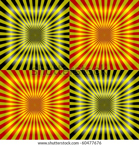 vector ray pattern black & yellow & red background - stock vector