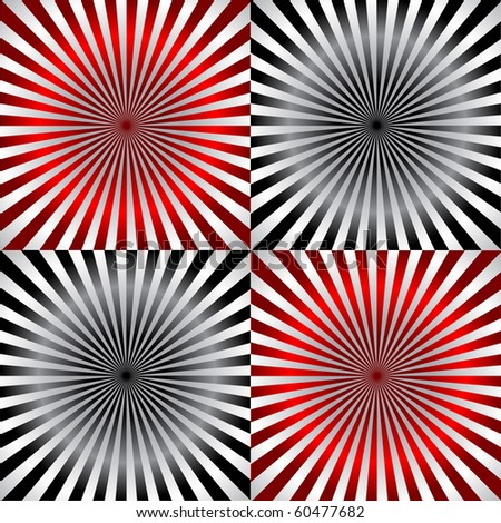 vector ray pattern black & white & red background