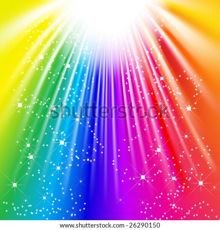 Vector - rays of colorful light with sparkling stars
