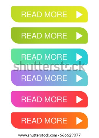 Vector read more buttons with arrow - colorful labels on the white background. Usable for a link, continue, read more or next.  Stock photo ©