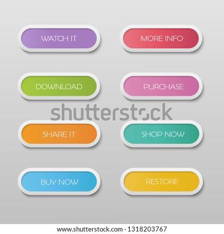 Vector read more colorful button web set flat line gradient. #1318203767