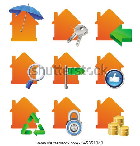 Vector real estate concept - bright house icons with signs - for sale, for rent, searching, keys, insurance, mortgage