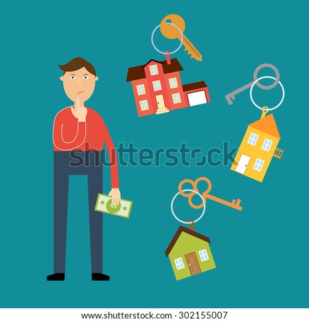 Vector real estate concept in flat style. Buyer with a dollar bill in his hand wondered which house to choose for rental or purchase. Nearby are the keys with key fobs in the form of houses