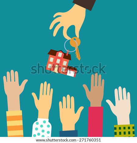 Vector real estate concept in flat style - hand real estate agent holding holds a key with a tag in the form of homes, and buyers are pulling your hands. Demand and supply