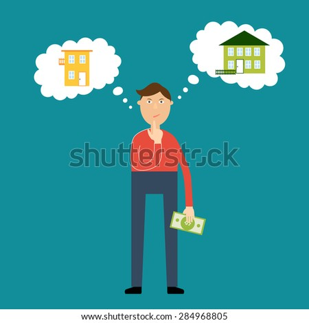 Vector real estate concept in flat style. Man wondered what house to buy; reflection in the clouds of thoughts
