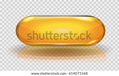 Vector Real fish oil capsule with transparency effect and shadow.