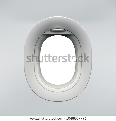 Vector realistic airplane window, aircraft illuminator