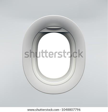 Vector realistic airplane window, aircraft illuminator