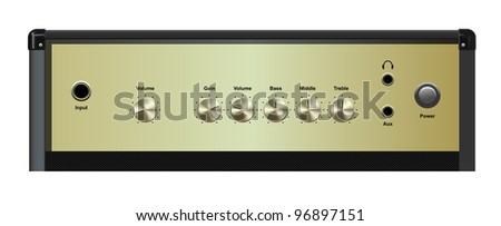 vector realistic amplifier interface on white background, raster version available