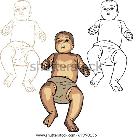 vector realistic baby differently drawn smiling
