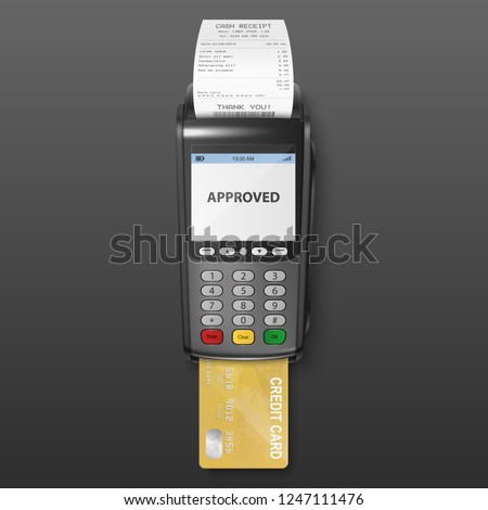 Vector Realistic Black 3d Payment Machine. POS Terminal with Receipt and Credit Card Closeup Isolated on Dark Background. Design Template of Bank Payment Terminal, Mockup. payments device. Top View