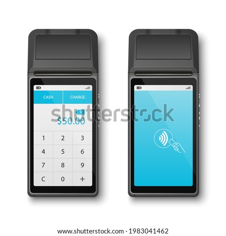 Vector Realistic Black 3d Payment Wi-Fi Machine. POS Terminal Closeup Isolated on White Background. Design Template of Bank Payment Terminal, Mockup. Payments Device. Top View