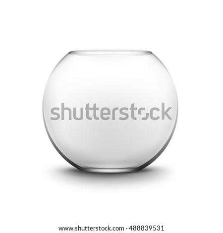 Shutterstock Vector Realistic Black Transparent Glass Smooth Empty Fishbowl Aquarium Isolated on White Background