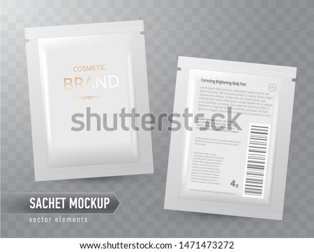 Vector realistic blank package, disposable foil sachet for facial mask or shampoo, isolated on transparent background. Cosmetic product for face care, skin treatment. Mockup for brand promotion