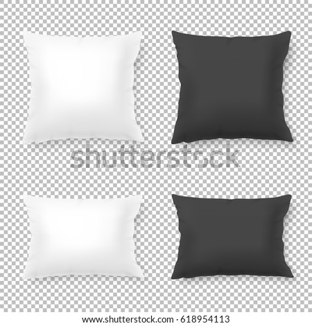Vector realistic blank white, black square and rectangular pillow or cushion icon set isolated on transparent background. Design template in EPS10. #618954113