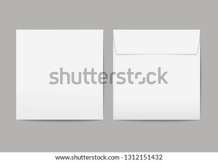 Vector realistic blank white paper square envelope with transparent background