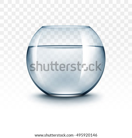 Shutterstock Vector Realistic Blue Transparent Shiny Glass Fishbowl Aquarium with Water without Fish Isolated on White Background