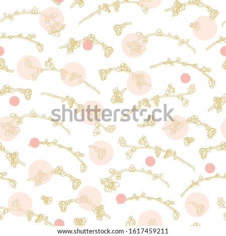 Vector realistic botany cherry branch repeat pattern with spring floral and dot. Beautiful classic design for wedding, event. Nature background. Print, fabric, stationary.