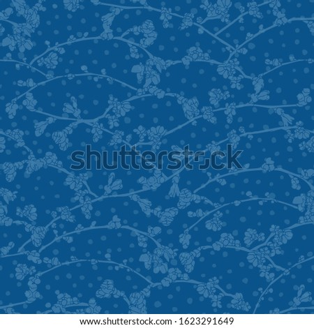 Vector realistic botany cherry branch repeat pattern with spring floral on dot. Beautiful classic design for wedding, event. Nature background. Print, fabric, stationary.