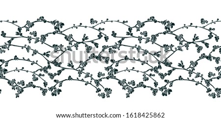 Vector realistic botany cherry tree repeat border with spring floral. Beautiful design for wedding, event. Nature background. Print, fabric, stationary.