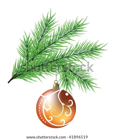 Vector realistic branch of fir with ball