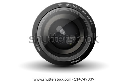 Vector realistic camera lens with a drop shadow on white background